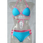 Women's Polyester Patchwork Sexy Bikinis Swimwear Nz with Pad And Bowknot