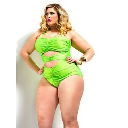 Women's Polyester Big Size Solid One-Piece Sexy Swimwear Nz