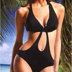 Women's Polyester Black One-Piece Sexy Swimwear Nz