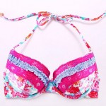 Nzswimwear Sexy Bombshell Push-up/Padded Underwire Bras/ Watercolor Printed Floral Halter Bikini Tops