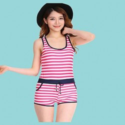 Women's Color Block Halter One-pieces (Polyester)