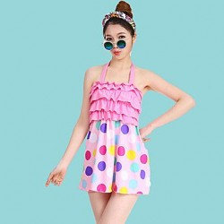 Women's Dot Halter One-pieces (Polyester)