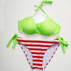 Women's Polyester Stripe Sexy Bikinis Swimwear Nz