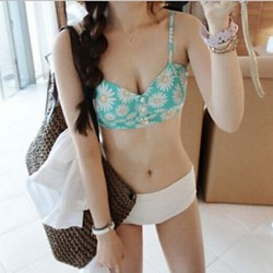 Women's Chrysanthemum Pattern Waist Bikini Swimsuit Nz Piece Suit