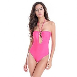 Women's Polyester Wireless Solid Color Halter One-pieces Swimwear Nz