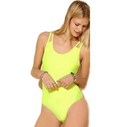 Women's Lime Strappy Sexy One-piece Swimsuit Nz