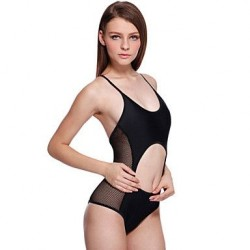 Women's Sexy Semi-sheer Cut-out Black One-piece Swimsuit Nz