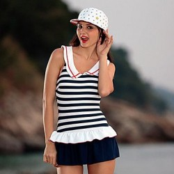 Women's Slim Stripes One Piece Swimwear Nz