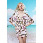 Women's Polyester Fashion Sexy V Neck Chain Print Cover-Ups