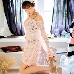 Women's Polyester Fashion Sexy Hook Flower Long Sleeve Cover-Ups