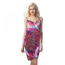 Women's Chiffon/Polyester Sexy Print Strap Cover-Ups