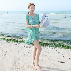 Women's Lace/Polyester Sexy V Neck Hook Flower Cover-Ups