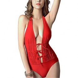 PinkQueen® Women's Nylon/Spandex V-neck Elastic Lace One-piece Swimsuit Nz