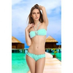 Women's Sky Blue Diamond Crystal Retro Bandeau Bikini Beachwear Sexy Swimwear Nz Biquinis