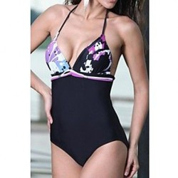 Women's Halter Stitching One-piece Swimwear Nz