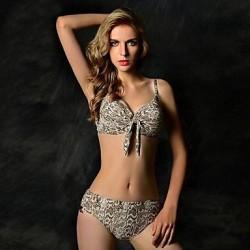 Women's Sexy Dermatoglyph Push-up Halter Bikini