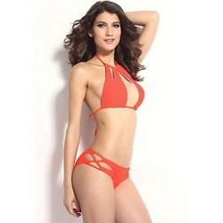 Women's Sexy Cool Cut outs Halter Bikini Set with Strings