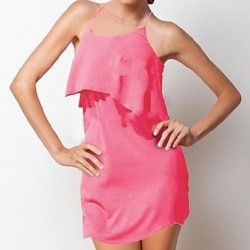 Women's Strap Ruffle Solid Color Sexy Swim Dresses