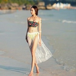 Womens Fashion Sexy Semi Sheer Lace Embroidered Frenum Beach Overskirt