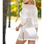 Women's Fashion Solid Hollow crochet Swimwer Bikini Sun Prevention Beach Cover Up Mini Dress