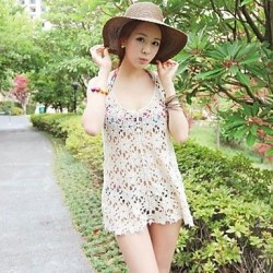 Women's Sexy Knitting Cut Out Flower Cover-ups