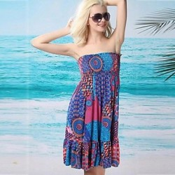 Women's Sexy Print Bandeau Beach Cover-Up Dress