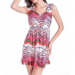 Women's Nylon/Polyester Fashion Fresh Multicolor Print V Neck Cover-Ups