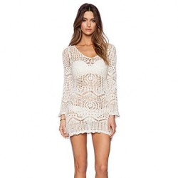 Women's Lace/Polyester Fashion Sexy Hook Flower Long Sleeve Cover-Ups