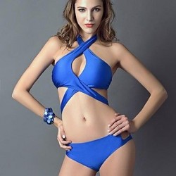 Women's Sexy Cross Neck Bandage Pure Color Bikini Swimwear Nz Set