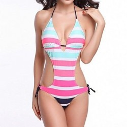 Women's Nylon/Polyester Sexy Multicolor Stripe Wireless Halter One-pieces Swimwear Nz