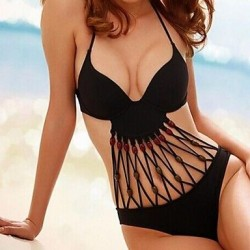 Women's Sexy Deep V Cut Out Halter One-Pieces Swimwear Nz