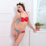 Women's Nylon/Polyester Sexy Bowknot Underwire Bra Halter Bikini