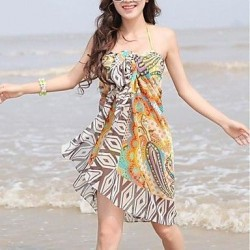 Women's Stylish Colorful Printing Chiffon Beach Towel Cover-up