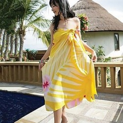 Women's Fashion Yellow Print Chiffon Scarf Sarong Bikini Swimwear Nz Swimsuit Nz Beach Cover-up
