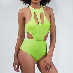 Women's Sexy Fashion Hollow Candy Green Push Up One-piece Swimsuit Nz
