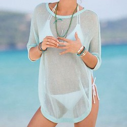 Women's Light Green High-low Hemline Sheer Beachwear