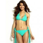 Women's Mint Halter Bikini Swimsuit Nz with Long Tassels Decor