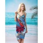 Women's Fashion Sexy Blue Fireworks Deep-v Swimwear Nz Swimsuit Nz Beachdress Bikini Cover-up