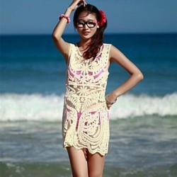 Women's Fashion Beige Hollow Crochet Swimwear Nz Swimsuit Nz Bikini Beach Cover-up Strapless Vest Dress