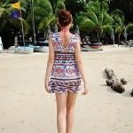 Women's Fashion Print Front And Back Deep V Swimwear Nz Swimsuit Nz Bikini Beach Cover Up Holiday Dress