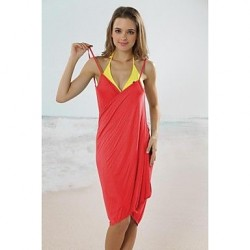 Women's Fashion Sexy Solid Deep-v Sun Prevention Swimwear Nz Swimsuit Nz Beachdress Bikini Cover-up