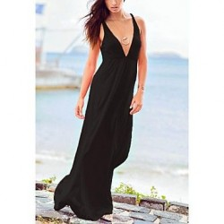 Women's Fashion Sexy Solid Deep V Swimwear Nz Swimsuit Nz Bikini Beach wear Holiday Long dress