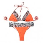Women's NewOrange + Zebra Print Lace with Triangle Top and Brazilian Cut Scrunch Butt BIKINI