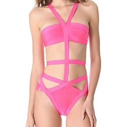 Women's Cut-out Bandage One-piece Swimwear Nz