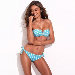 Bikini of the Year – RELLECIGA NEW Blue Metallic Stripe Full-Lined Bandeau Bikini Set with Front V