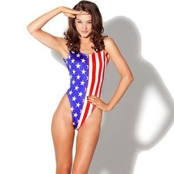 US Flag Women Polyester Wireless Halter One-size One-pieces Swimwear Nz