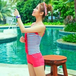 Elegant Women's Swimwear Nz flouncing Striped One Piece Swim Suit Skirt