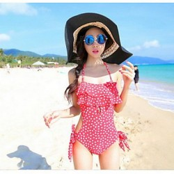 Women's Conjoined Hanging Neck Triangle Swimwear Nz Fashion Wave One Piece Swimwear Nz