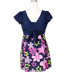 Womans Plus Size Vintage Floral Bow Knot Padded One Piece Swimsuit Nz
