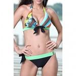 Women's Halter Stripe Bows Bikini